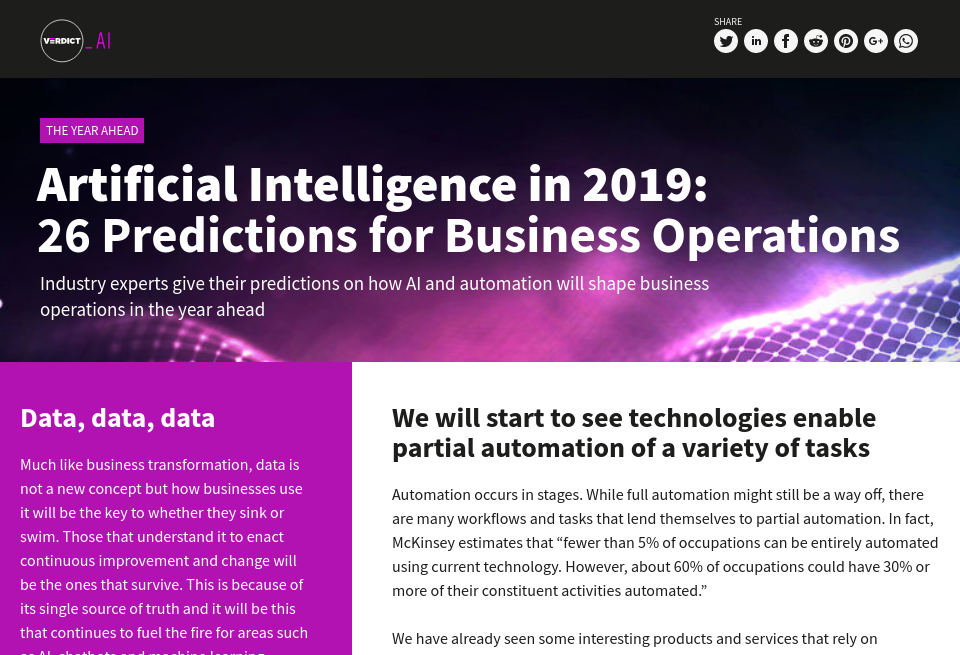 Artificial Intelligence in 2019: 26 Predictions for Business